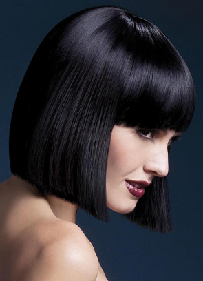 Deluxe Lola Blunt Cut Bob Wig with Fringe - Black - Styleable