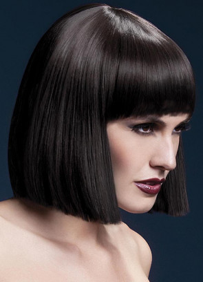 Deluxe Lola Blunt Cut Bob Wig with Fringe - Brown - Styleable