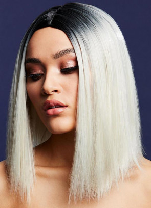 Deluxe Kylie Long Bob with Centre Parting – Ice Blonde - Styleable