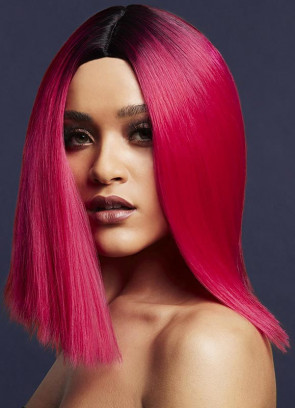 Deluxe Kylie Long Bob with Centre Parting – Magenta Pink - Styleable