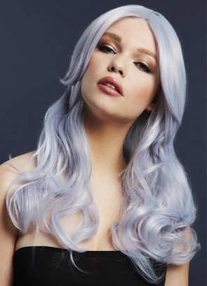 Deluxe Nicole Long Wavy Wig - Silver Lilac - Styleable