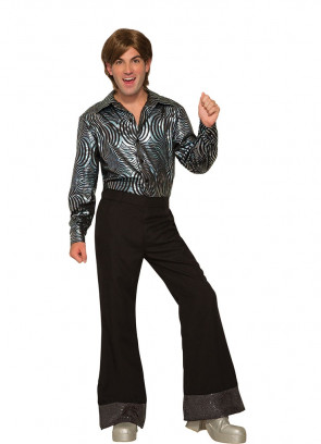 Flared Disco Pants Black Sequin - ABBA