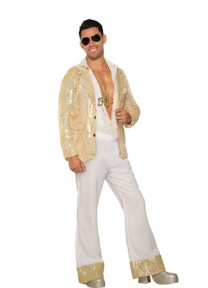 Flared Disco Pants White & Gold - ABBA