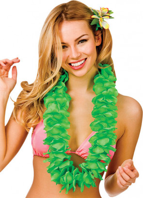 Full Hawaiian Petal Lei Neon Green