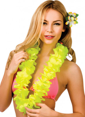 Full Hawaiian Petal Lei Neon Yellow