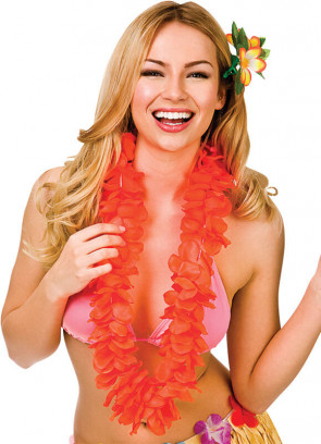 Full Hawaiian Petal Lei Neon Orange