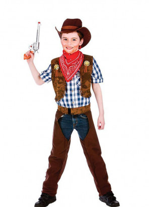 Wild West Boys Cowboy Costume- Check Shirt