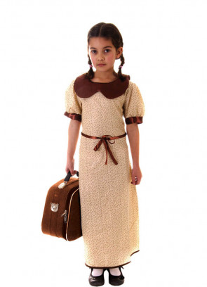 WWII Evacuee Girl (Brown) Costume