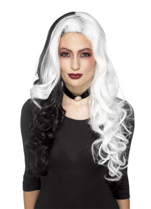 Evil-Madame White / Black Wig – Heat Resistant