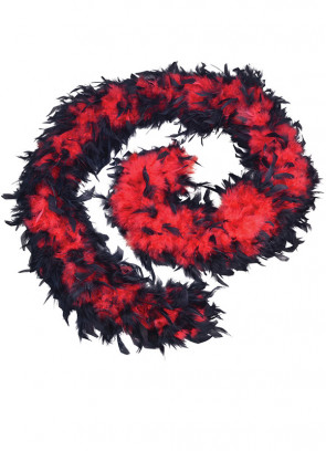 Feather Boa Black & Red 80g - 182cm