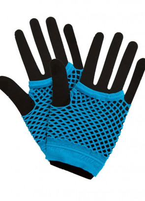 80s Fishnet Gloves Blue - Short