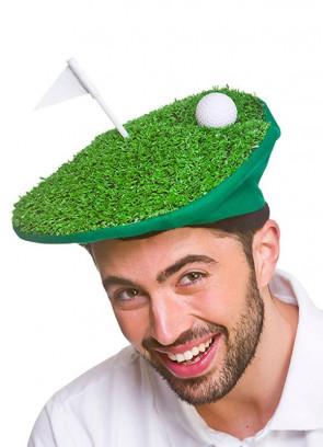 Funny Golf Hat - Grass Golf Ball & Flag
