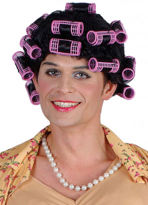 Funny Housewife Black Curly Wig with Pink Rollers - Winnie - Mrs Brown