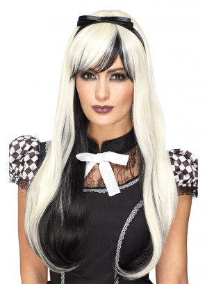 Deluxe Gothic Alice Wig - Blonde / Black - Styleable