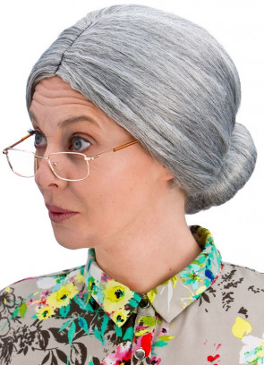 Granny Bun Wig - Two-tone Grey