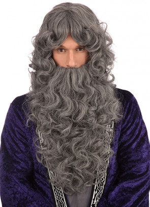 Long Grey Prof Wizard Wig And Beard