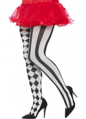 Black and White Harlequin Tights - Dress Size 6-14