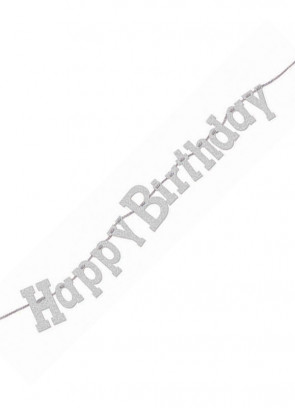 Happy Birthday Bunting – Silver - 7.5ft Long