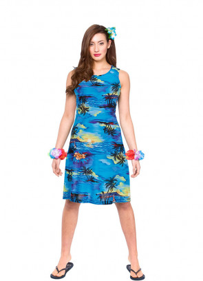 Hawaiian Short Beach Dress (Blue) Costume