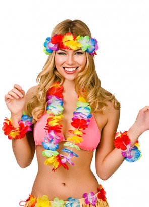 Hawaiian Aloha Multi 4 Piece Lei Set