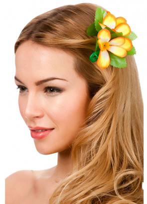 Hawaiian Flower Hair Clip (orange and white)