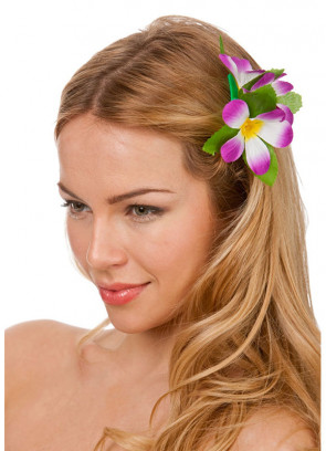 Hawaiian Flower Hair Clip (Purple and White)