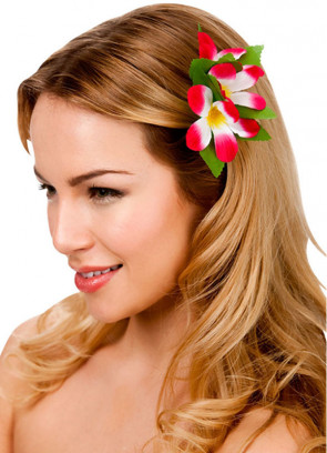 Hawaiian Flower Hair Clip (Dark Pink and White)