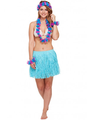 Hawaiian 5 Piece (Grass Skirt, Leis) Set Blue