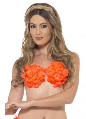 Hawaiian Flowered Bra – Neon Orange
