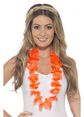 Hawaiian Flower Lei – Neon Orange