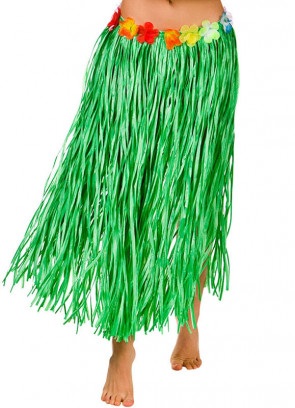 "Hawaiian Long Green Grass Skirt with Flowers - will fit up to waist size 40"" or 102cm"