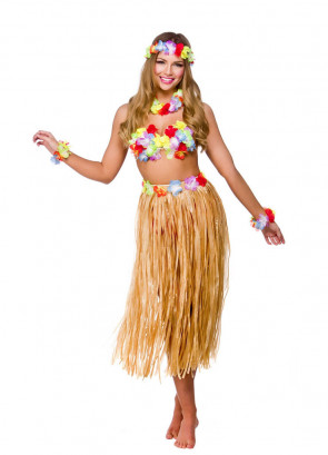 "Hawaiian Party Girl Plain Grass Skirt Kit - will fit up to waist size 38"" or 97cm"