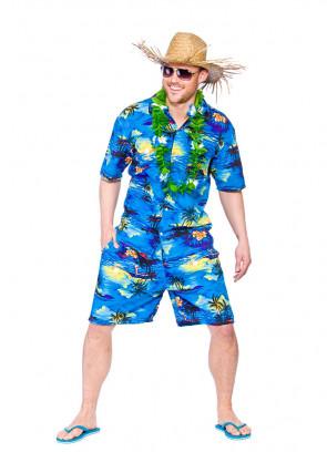 Hawaiian Party Guy (Blue Palm Trees) Costume