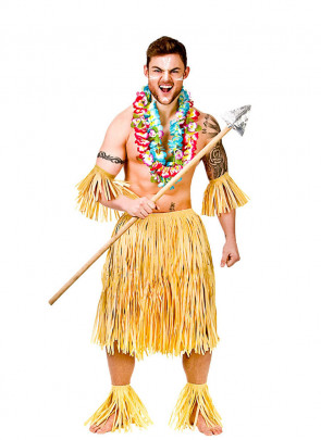 "Hawaiian Party Guy/Warrior Costume - will fit up to waist size 40"" or 102cm"