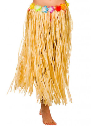"Hawaiian Long Plain Grass Skirt with Flowers - will fit up to waist size 40"" or 102cm"