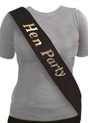 Hen Party Sash - Black/Holographic