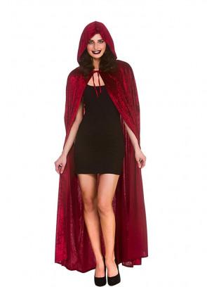 Deep Red Velvet Hooded Cape