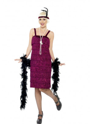 Jazz Flapper Burgundy Costume