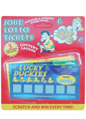 Joke Scratch Cards - Lucky Ducks Lotto tickets -3 Pack