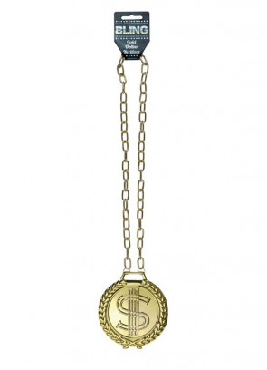 Jumbo Metal Gold Dollar Medallion with Chain