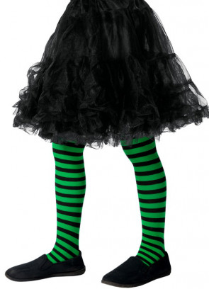 Kids Striped Tights - Green & Black - Age 8-12