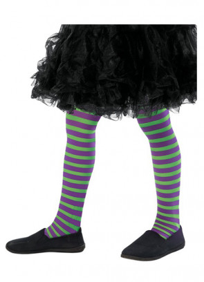 Kids Striped Tights - Green & Purple - Age 8-12