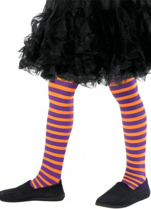 Kids Striped Tights - Orange & Purple - Age 8-12