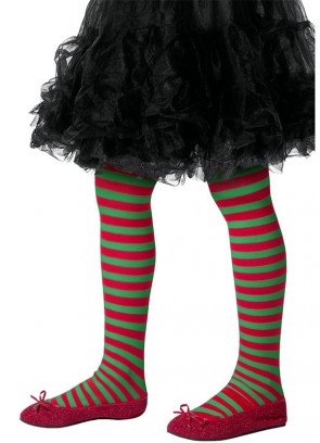 Red and Green Striped Tights – Kids