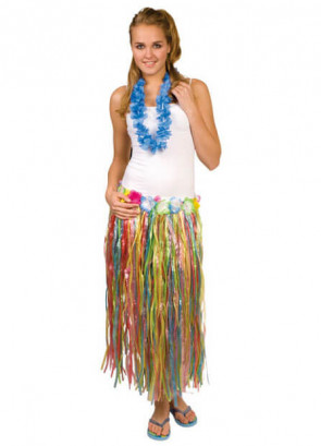 Hawaiian Long Multi Grass Skirt With Flowers