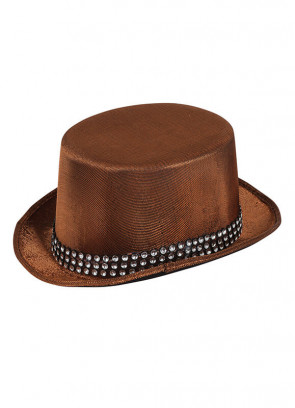 Metallic Brown Top Hat