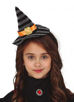 Mini Silver and Black Tinsel Striped Witch Hat with Orange Band