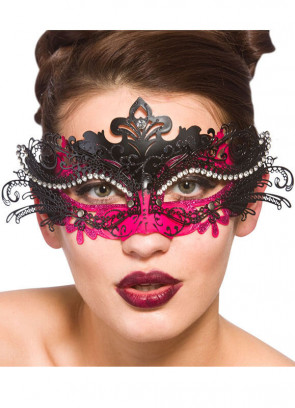 Puccini Eye Mask Black & Pink with Diamantes