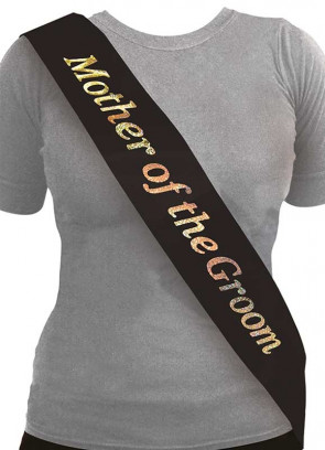 Mother of the Groom Sash - Black/Holographic