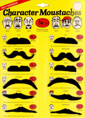 Character Moustaches (Card Of 12) Black